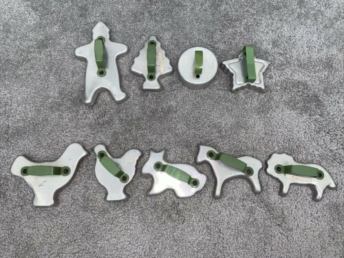 htf Vintage Aluminum Cookie Cutters Green Metal Handles Lot of 9 Different