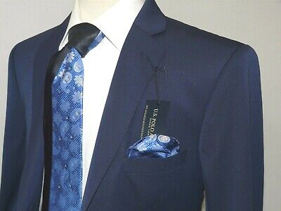 Mens Suit US POLO ASSN. Single breasted two Button Business semi Slim 5024S Navy