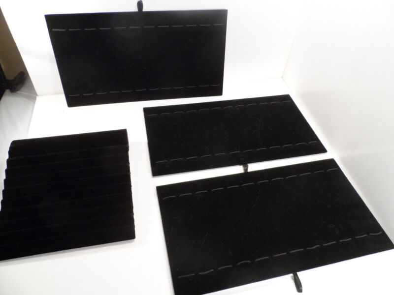 """Black Velvet Board for Bracelets/Watches 3/15"""" X 7.5"""" & 1/8.5"""" X 8"""" (Lot of 4 )"""