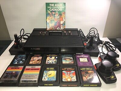 Atari 2600 4 Switch Vader console 10 game lot . All original  Joysticks Paddles