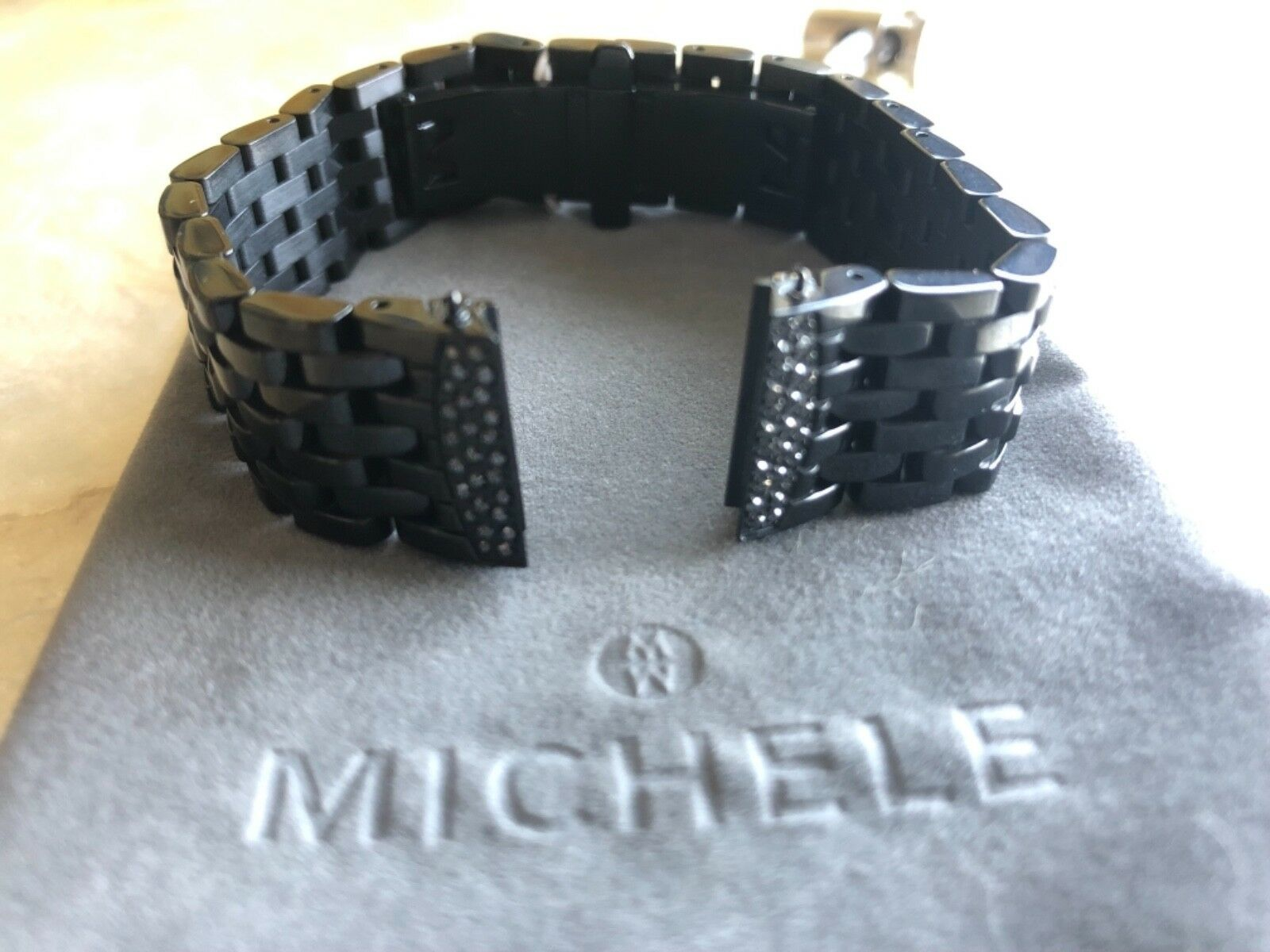 Michele Urban Mini Black Stainless Steel Diamond a Watch Bra