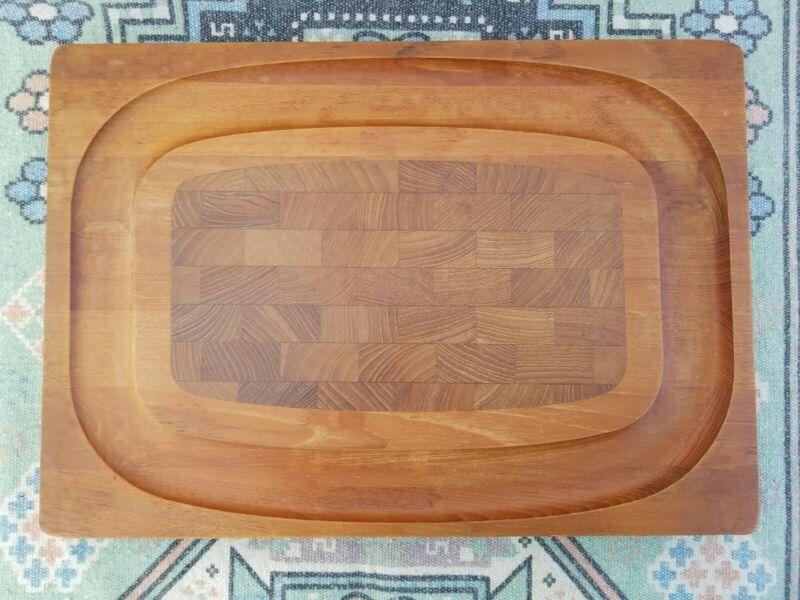 "Kalmar Designs Teak Cutting Board Made in Denmark MCM 16.5"""