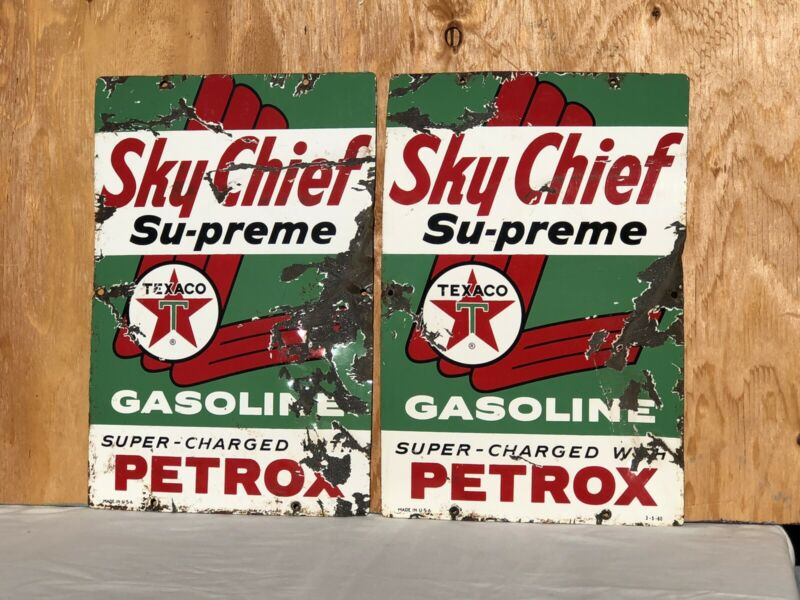 2 1960 Vintage 3-5-60 Porcelain Texaco Sky Chief Petrox Gas Pump Signs Original