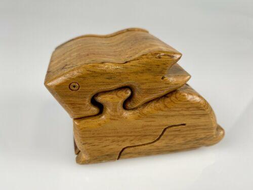 "3"" Bunny Rabbit Puzzle Trinket Wooden w/ Velvet Interior Secret Compartment Box"