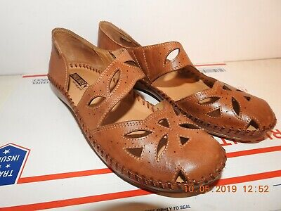 PIKOLINOS CUTOUT Women's Flat Comfort Shoes Brown Leather perforated Size 9-9.5
