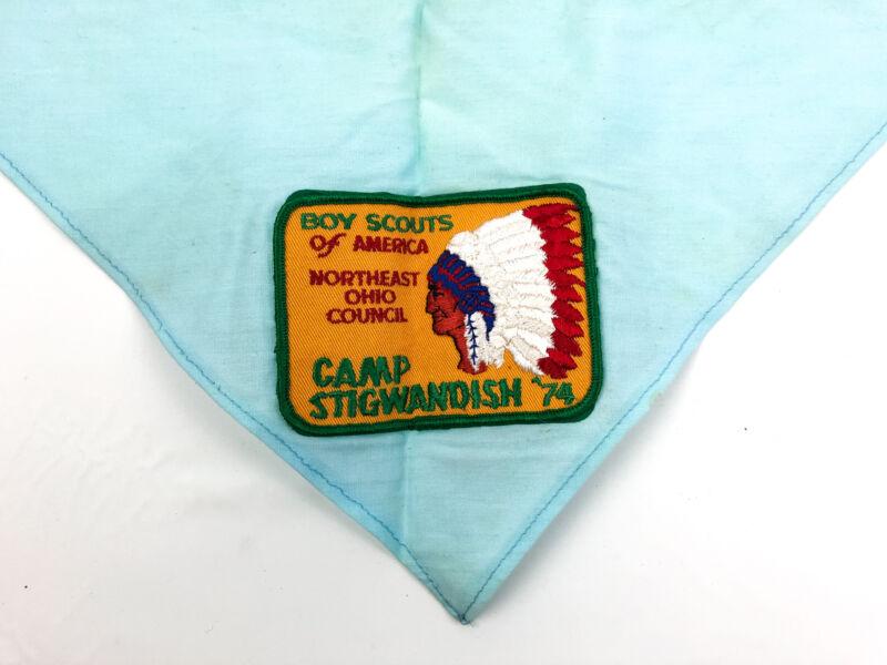 Vintage Boy Scouts of America Neckerchief 1974 Camp Stigwandish Northeast Ohio