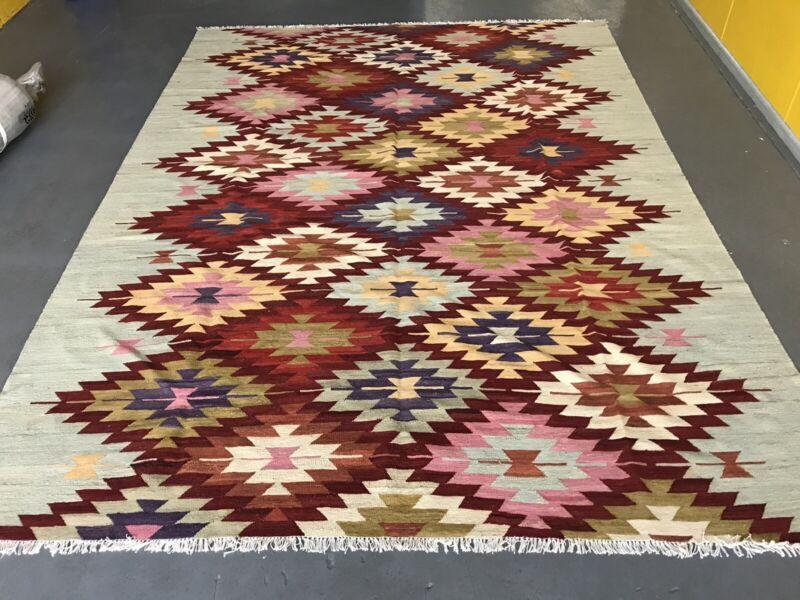 Wool Kilim Rug Dhurrie Turkish 3 5x2 6m