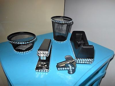 Set Of 5 Bling Wire Rhinestone Office Desk Accessories Desktop Desk Set
