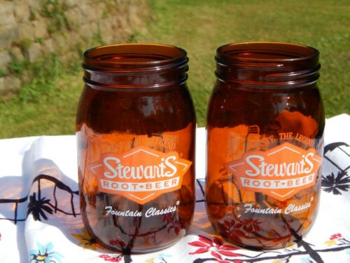 2 STEWARTS ORIGINAL ROOT BEER MASON JAR GLASS AMBER COLOR MUG