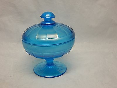 Stretch Glass Celeste Blue Covered Candy Dish