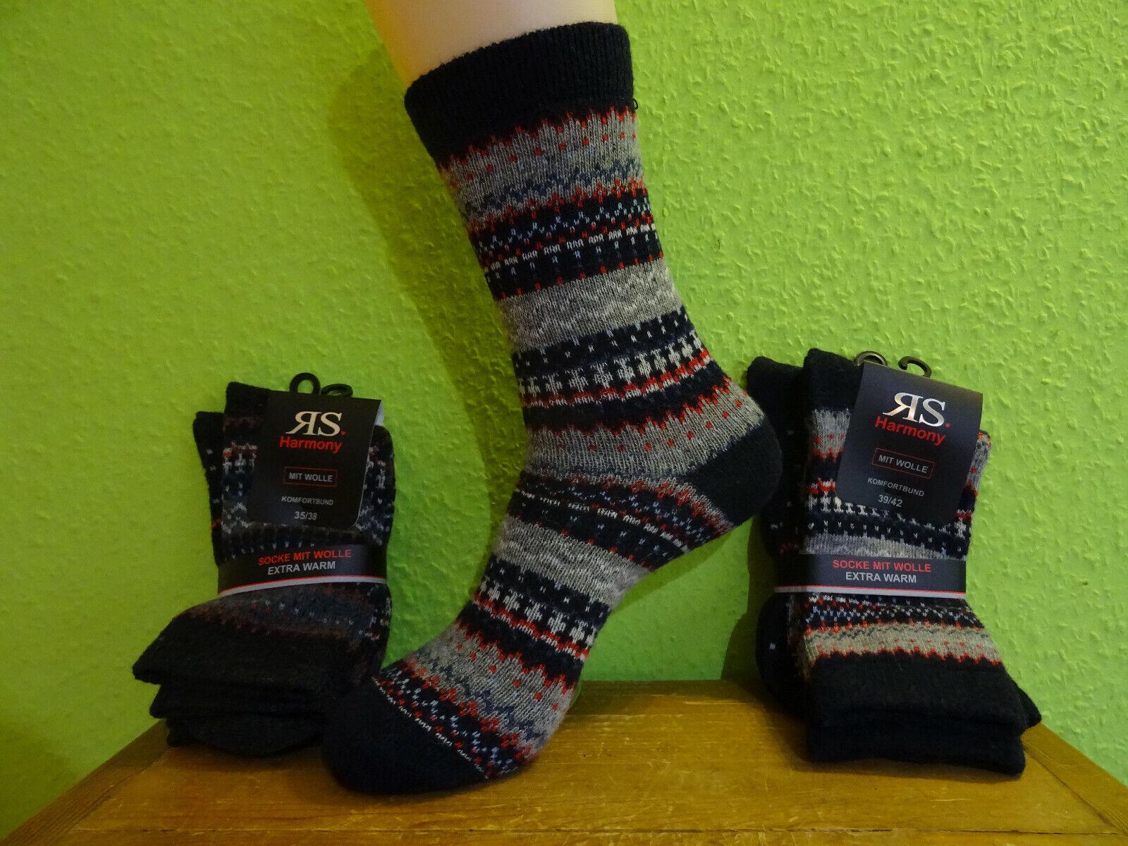 2 Paar Damen Norweger Socken Kaschmir Wolle bunt flauschig weich Gr 35 - 42 neu