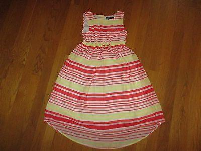 Girls Nautica Orange Yellow Striped High Low Hem Dress Size 6