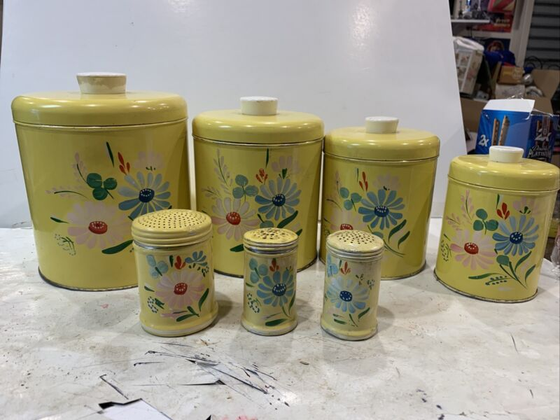 7 pcs 50s RANSBURG Yellow Floral Handpainted Metal Vintage Canisters Set