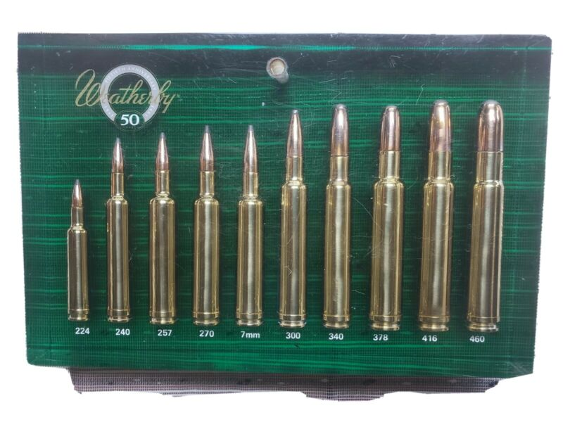 Vintage 50th Anniversary Weatherby Lucite Ammo Display Cartridge GREEN Very Rare
