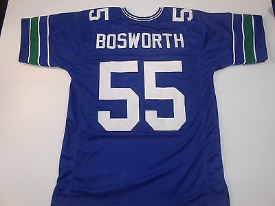 Unsigned Custom Sewn Stitched Brian Bosworth Blue Jersey   M  L  Xl  2Xl