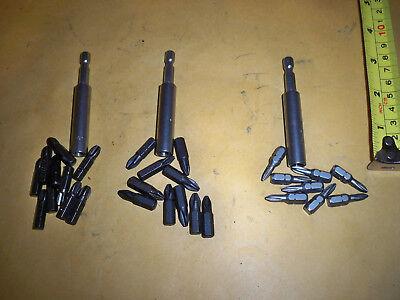 3-STAINLESS STEEL MAGNETIC BIT HOLDER & 30 INSERT BITS  (3 Stainless Steel Bit)