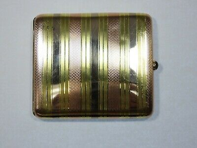 Incredible Vintage 14k Pink - Rose Gold Yellow and White Gold Cigarette Case