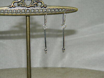 - Dainty Sterling Silver Bar and Bead Dangle Earrings Stick