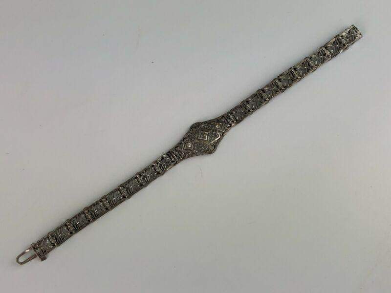 Antique Victorian Filigree Sterling Silver Bracelet