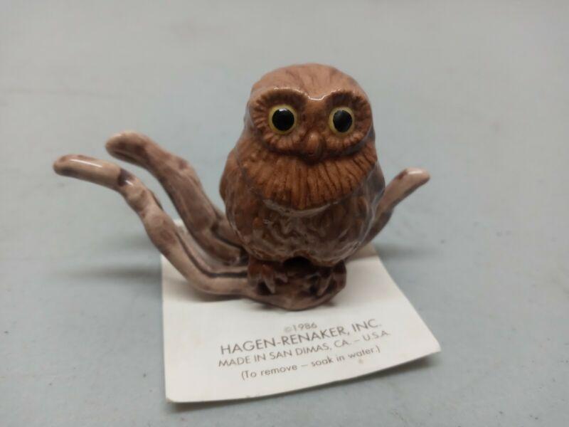 Vintage Rare Hagen Renaker Miniture Brown Owl On Branch 1986