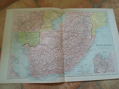 Old Map SOUTH AFRICA From Bacon's Popular Atlas Of The World - 1907 (No 40)