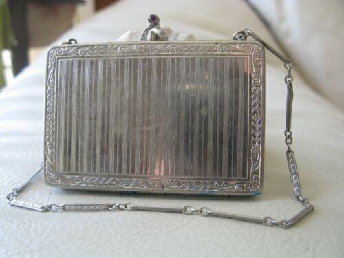 Antique Silver T Purple Jewel Clasp Engraved Bar Chian LIPSTICK Compact
