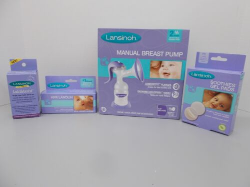 SEALED Lansinoh Manual Breast Pump, Gel Pads, LatchAssist, HPA Lanolin