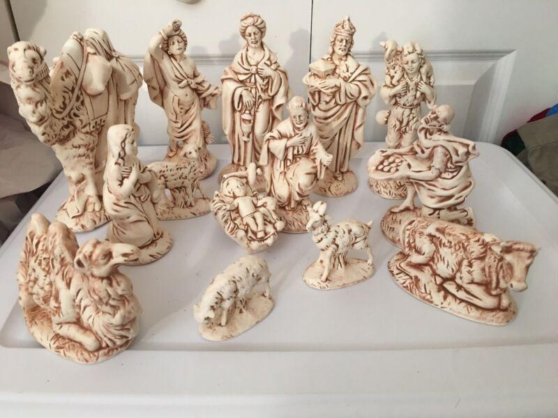 Atlantic Mold 14 Piece, Beige Ceramic Christmas Nativity Scene