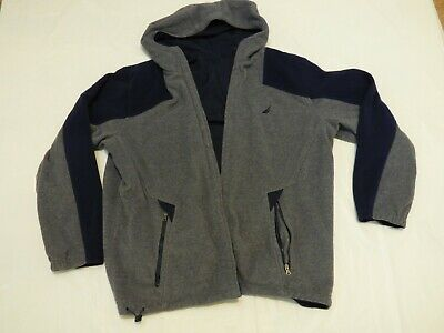 NAUTICA SAILOR YACHT Reversible Fleece Hooded Rain Jacket Grey Navy size L