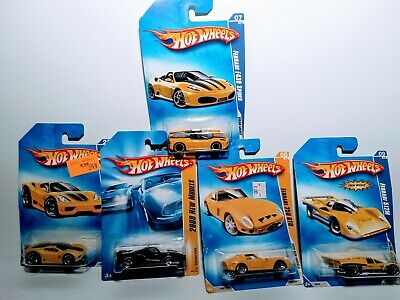Hot Wheels Yellow '09,'08 Yellow& Black Ferrari Lot Of 5