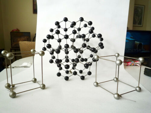 Vintage graphite educational molecular model atomic chemistry mid century atom 3
