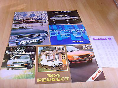 Car brochures 1979 5 Peugeot from 1979 304 305 Diesel, Range, Price List