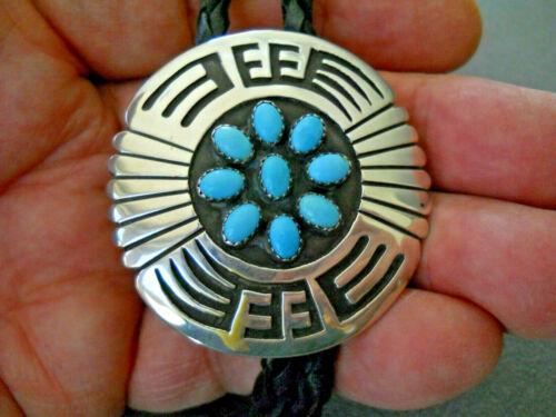 ROSCO SCOTT Native American Navajo Turquoise Cluster Sterling Silver Bolo Tie