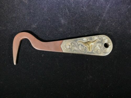 Unmarked Contemporary Silver And Gold Mounted Longhorn Hoof Pick