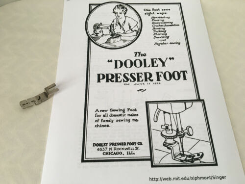 """Vintage """"Dooley"""" Presser Sewing Foot and Copy of Manual - Top Clamping Rotary"""