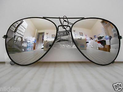 Aviator Mirrored Sunglasses Large Silver Mirror Lenses Black Frame (Aviator Sunglasses Silver Frame)