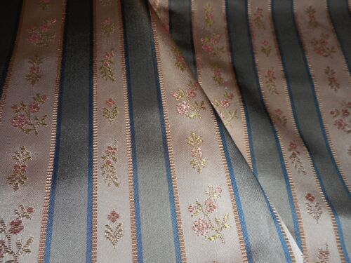 Vintage French Satin Lisere Brocade Floral Stripe Fabric  #2~ Blue Gray Pink