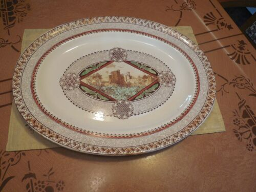 ANTIQUE LARGE  BROWNFIELD & SONS BROWN & WHITE WITH COLOR TRANSFERWARE PLATTER