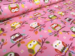 ☻ Stoff Baumwolle Jersey mit süßen Eulen Druck rosa bunt bedruckt ☻
