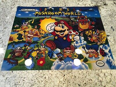 Gottlieb Super Mario Bros Mushroom World Pinball Translite Backglass Artwork