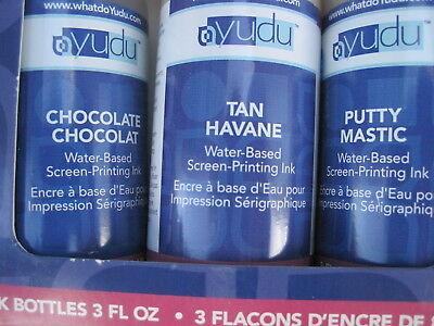 Yudu Neutral Color Ink Set Of 3 Bottles-puttytanchocolate 3 Oz.each 625007.new