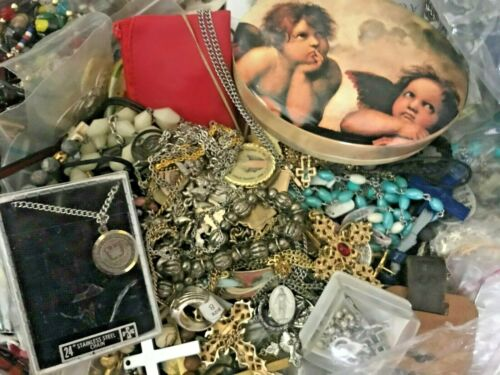 Treasure Trove of Religious Jewelry {{ 50+ POUNDs }} Rosaries, Medals / Unsorted