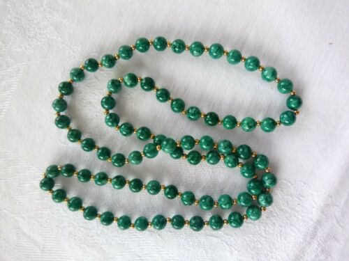 Vintage Navajo Opaque Russian Chrome Diopside Bead Strand Necklace 32 Inches