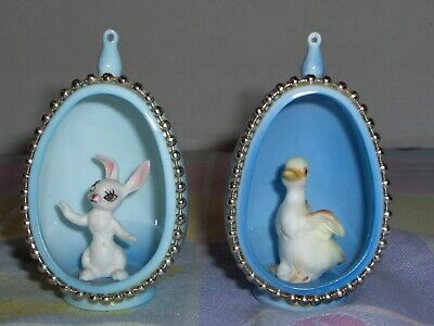 Easter Egg Ceramic Set of 2 Bunny Rabbit & Duck Hang or Shelf (Bunny Or Duck)