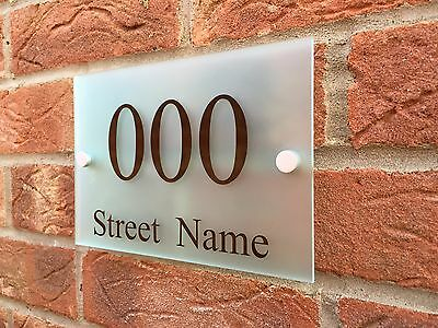 MODERN HOUSE SIGN PLAQUE DOOR NUMBER + STREET NAME FROSTED GLASS ACRYLIC