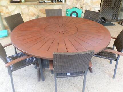 KASULE Outdoor kwila table & Lazy susan plus 6 chairs $600 ono