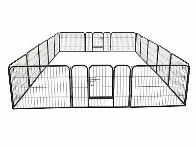 16 Panel Large Metal Pet Dog Cat Exercise Barrier Fence Cage Playpen Kennel Yard