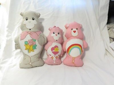 Vintage Care Bears Fabric Pillow Plush Lot- Grams, Baby Hugs, Cheer Bear - Care Bears Cheer Bear