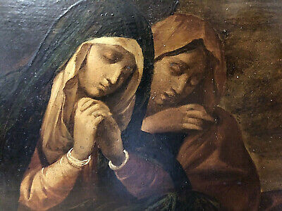 COMPIANTO DI CRISTO MORTO ANTICO OLIO SU TAVOLA DEL XVII-XVIII SECOLO DIFETTI