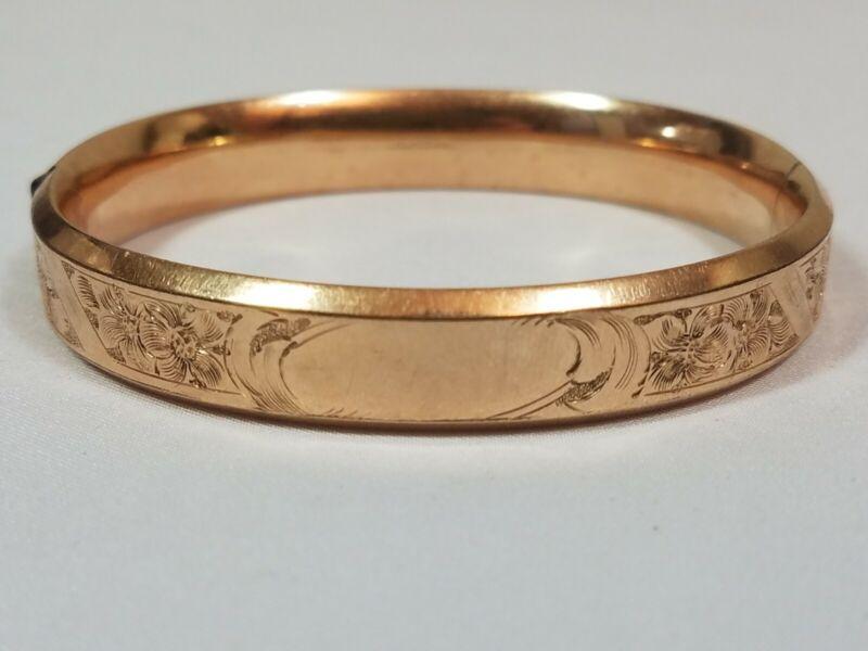 Antique Bracelet GLP Co 1/10 Gold Filled Floral Etched Bangle Victorian GLPCO
